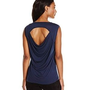 BCBGMAXAZRIA Navy Blue Witt Open Back Drape Top